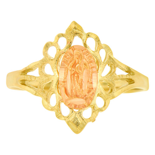 14k Yellow & Rose Gold, Filigree Style Virgin Mother Mary Ring Sparkle Cut (R142-015)