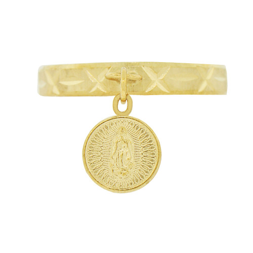 14k Yellow Gold, Dangling Coin Ring Virgin Mary Sparkle Cut (R142-020)