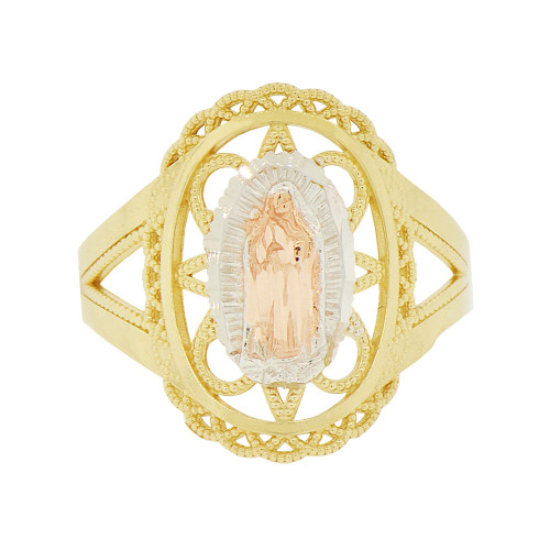 14k Tricolor Gold, Filigree Oval Shape Virgin Mother Mary Ring Sparkle Cut (R143-002)