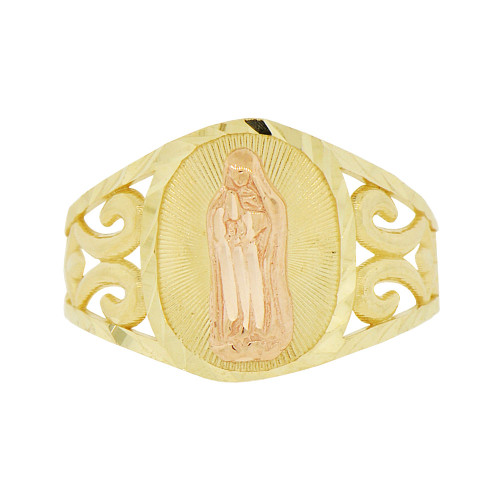 14k Tricolor Gold, Filigree Style Virgin Mother Mary Ring Sparkle Cut (R143-004)