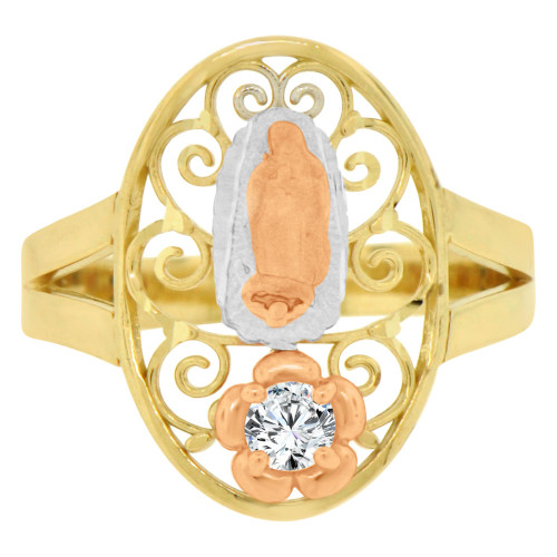 14k Tricolor Gold, Filigree Oval Shape Virgin Mother Mary Ring Cubic Zirconia (R143-007)