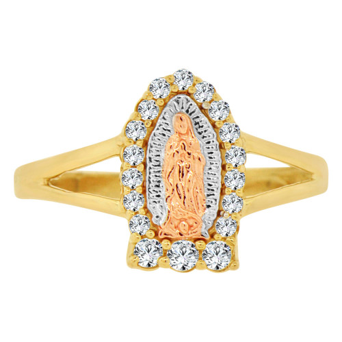 14k Tricolor Gold, Small Size Virgin Mother Mary Ring Cubic Zirconia (R143-017)
