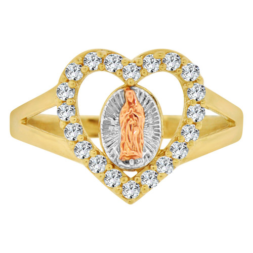 14k Tricolor Gold, Heart Shape Virgin Mother Mary Ring Cubic Zirconia (R143-020)