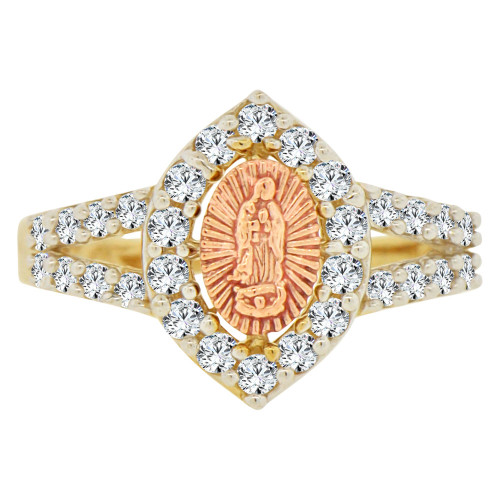 14k Yellow & Rose Gold, Marquise Shape Virgin Mother Mary Ring Cubic Zirconia (R143-025)
