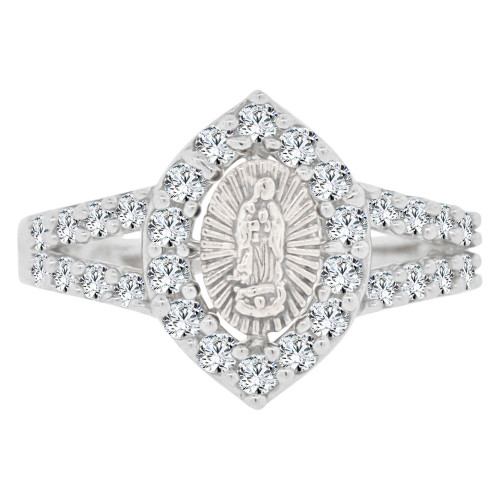 14k White Gold, Marquise Shape Virgin Mother Mary Ring Cubic Zirconia (R143-075)
