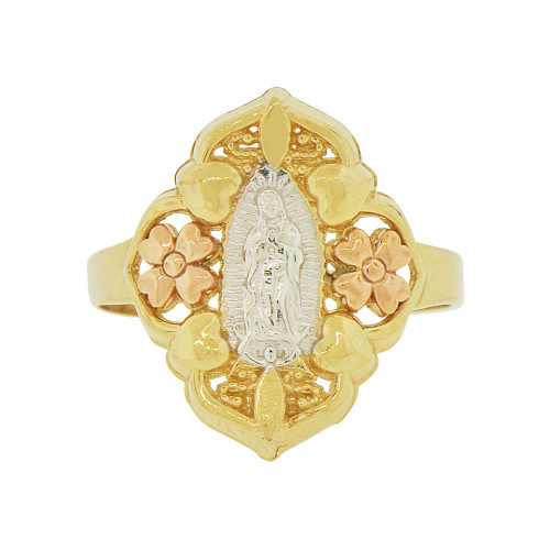 14k Tricolor Gold, Filigree Flower Design Virgin Mother Mary Ring Sparkle Cut (R144-014)