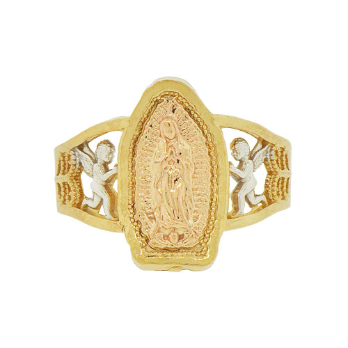 14k Tricolor Gold, Filigree Angel Design Virgin Mother Mary Ring Sparkle Cut (R144-021)