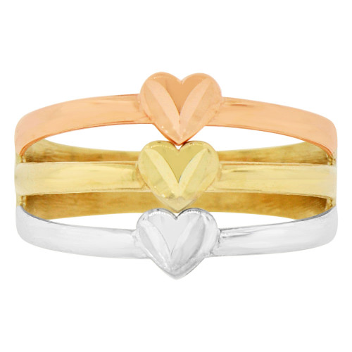 14k Tricolor Gold, Three in One Band Ring Heart Design Sparke Cut (R145-004)
