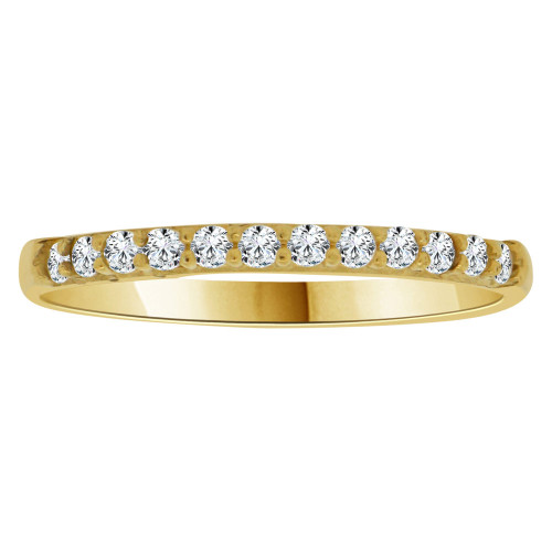 14k Yellow Gold, Simple and Dainty Thin Band Ring Cubic Zirconia. (R145-019)