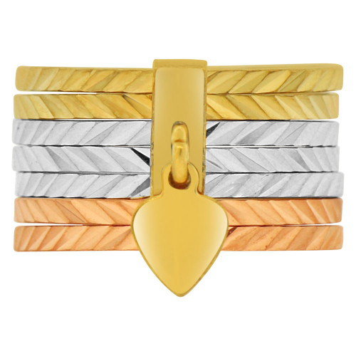 14k Tricolor Gold, 7 Days Seven in One Band Sparke Cut Size 5 (R145-805)