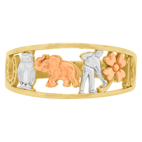 14k Tricolor Gold, Lucky Symbols Tapered Band Cutout Style Ring  (R146-001)