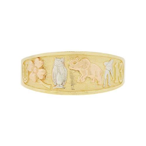 14k Tricolor Gold, Lucky Symbols Tapered Band Style Ring  (R146-002)