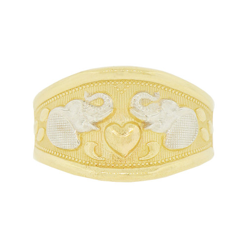 14k Tricolor Gold, Lucky Elephants & Heart Design Tapered Band Style Ring (R146-006)
