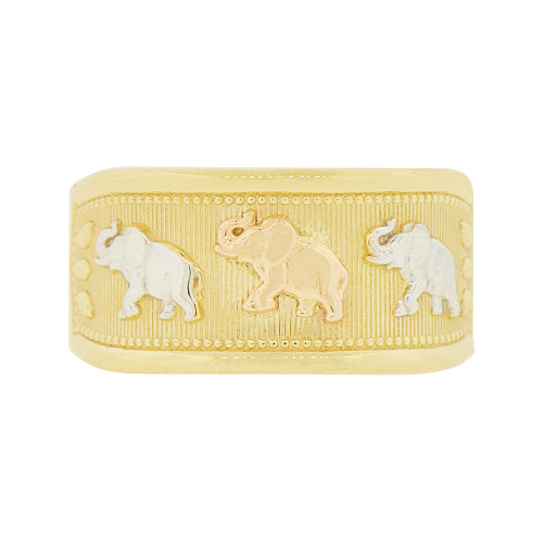 14k Tricolor Gold, Lucky Elephants Design Tapered Band Style Ring (R146-007)