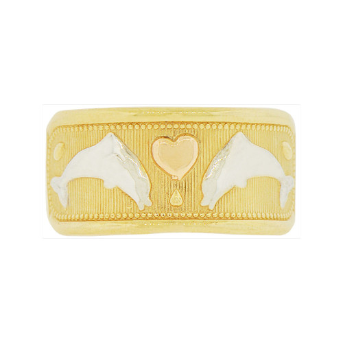 14k Tricolor Gold, Jumping Dolphins & Heart Design Tapered Band Ring (R146-008)