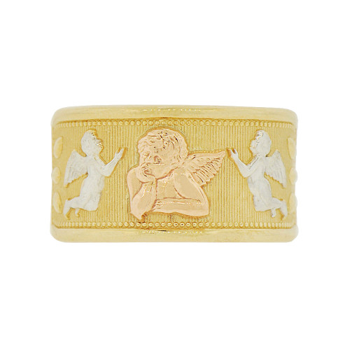 14k Tricolor Gold, Cupid Angels Design Tapered Band Style Ring (R146-010)