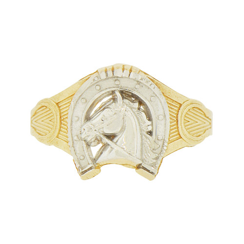 14k Yellow Gold White Rhodium, Lucky Horseshoe Horse Stallion Design Ring (R146-012)
