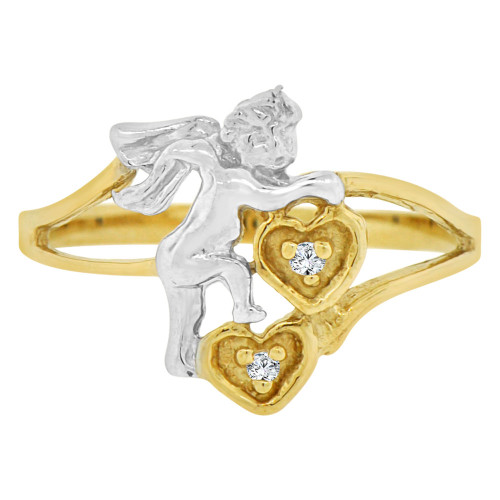 14k Yellow Gold White Rhodium, Cupid Angel Hearts Design Ring Cubic Zirconia (R146-013)