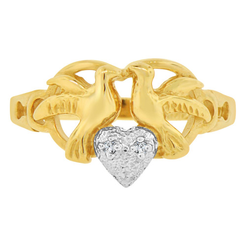 14k Yellow Gold White Rhodium, Doves Heart Design Ring Cubic Zirconia (R146-015)