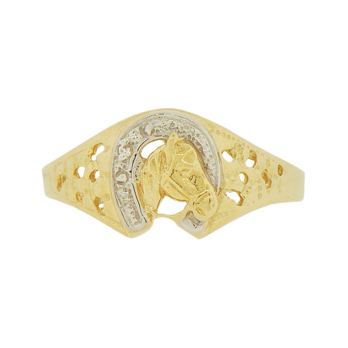 14k Yellow Gold White Rhodium, Lucky Horseshoe Horse Stallion Design Ring Cubic Zirconia (R146-016)