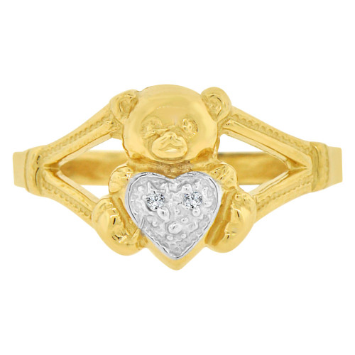 14k Yellow Gold White Rhodium, Teddy Bear Heart Design Ring Cubic Zirconia (R146-017)