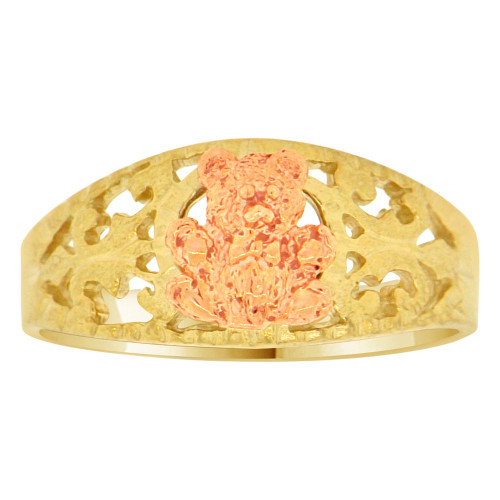 14k Yellow & Rose Gold, Teddy Bear Design Filigree Tapered Band Style Ring (R146-018)