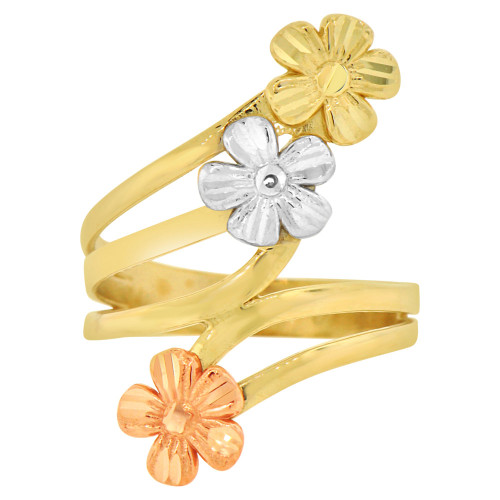 14k Tricolor Gold, 3 Flower Layered Fancy Design Ring (R146-022)