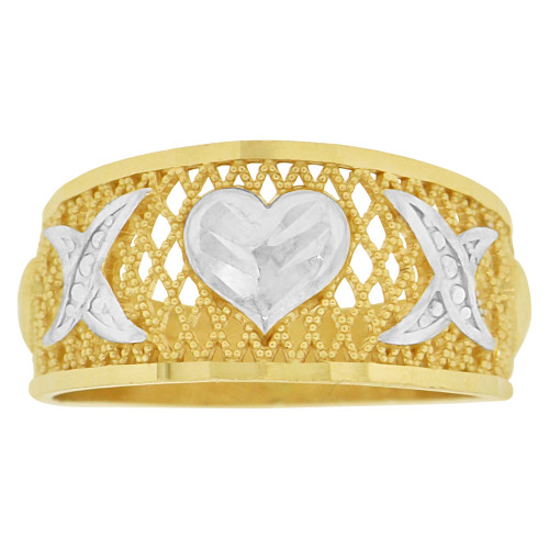 14k Yellow Gold White Rhodium, Heart Design Filigree Tapered Band Ring Diacut (R147-002)