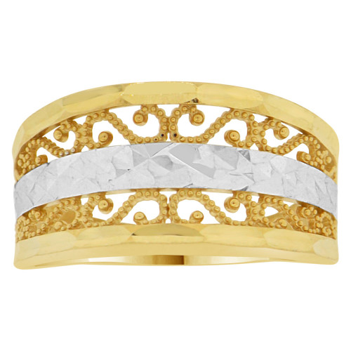 14k Yellow Gold White Rhodium, Classic Filigree Design Tapered Band Ring Diacut (R147-006)