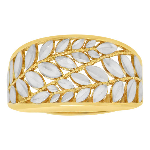 14k Yellow Gold White Rhodium Leaves Filigree Design Tapered Band Ring Diacut (R147-010)