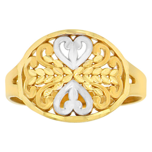 14k Yellow Gold White Rhodium, Classic Filigree Heart Design Ring Diacut (R147-011)