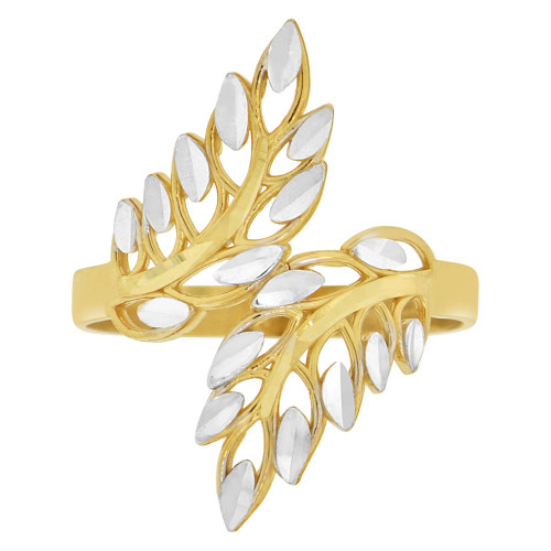 14k Yellow Gold White Rhodium, Fancy Double Leaf Filigree Design Ring Diacut (R147-018)