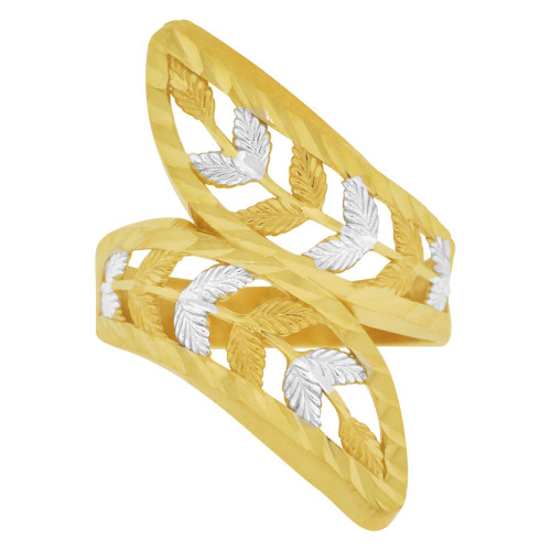 14k Yellow Gold White Rhodium, Fancy Double Leaf Filigree Design Ring Diacut (R147-019)