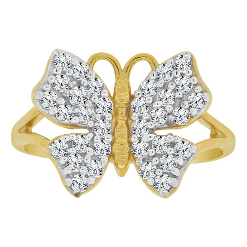 14k Yellow Gold White Rhodium, Elegant Butterfly Design Fancy Ring Cubic Zirconia 16mm (R147-025)
