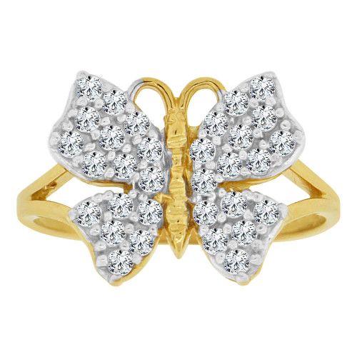 14k Yellow Gold White Rhodium, Elegant Butterfly Design Fancy Ring Cubic Zirconia 13mm (R147-026)