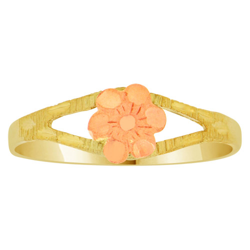 14k Yellow and Rose Gold, Small Rose Flower Casting Ring  (R148-010)