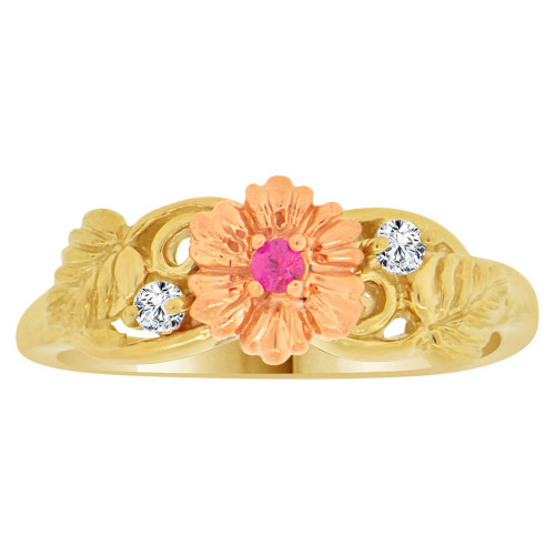 14k Yellow and Rose Gold, Flower Design Ring Cubic Zirconia (R148-013)