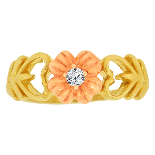 14k Yellow and Rose Gold, Flower and Heart Design Ring Cubic Zirconia (R148-014)