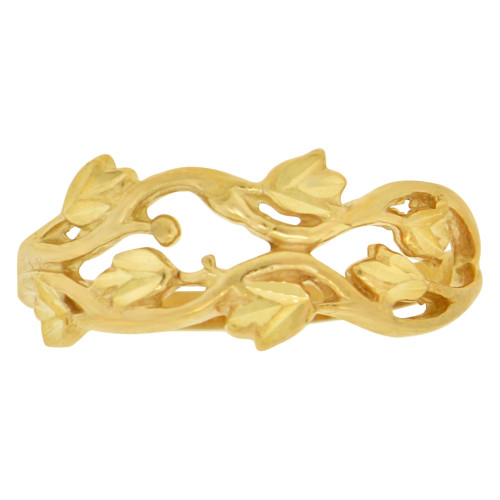 14k Yellow Gold, Mini Leaves and Branches Design Ring Sparkle Cuts (R148-015)