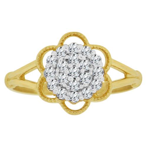 14k Yellow Gold White Rhodium, Small Cluster Design Ring Cubic Zirconia (R148-016)