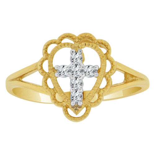 14k Yellow Gold White Rhodium, Small Cross Heart Ring Cubic Zirconia (R148-017)