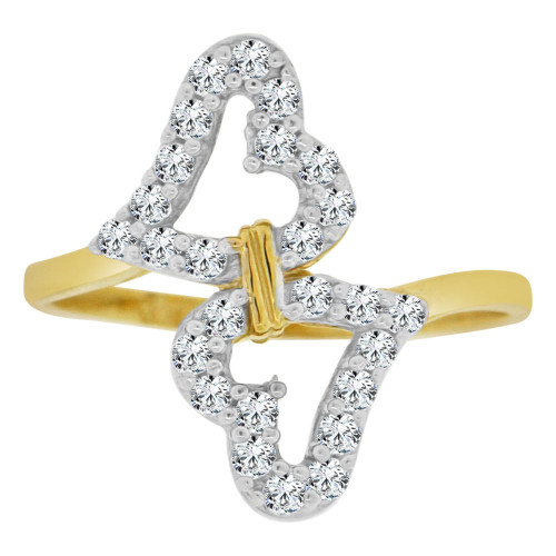 14k Yellow Gold White Rhodium, Double Heart Design Ring Cubic Zirconia (R148-018)