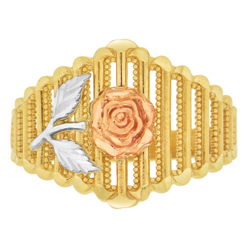 14k Tricolor Gold, Rose Flower Design Filigree Style Ring Sparkle Cuts (R148-019)