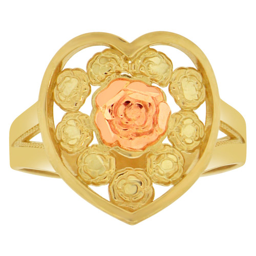 14k Yellow and Rose Gold, Rose Flower Design Heart Shape Ring Sparkle Cuts (R148-021)