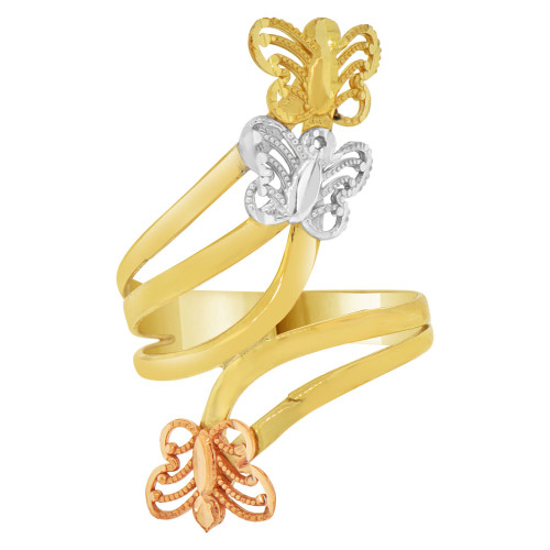14k Tricolor Gold, 3 Butterfly Design Layered Ring (R148-023)