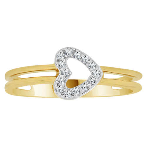 14k Yellow Gold White Rhodium, Classic Heart Design Ring Cubic Zirconia (R148-024)