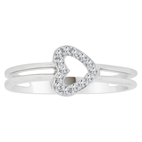 14k White Gold, Classic Heart Design Ring Cubic Zirconia (R148-074)