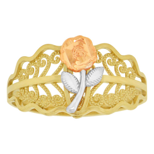 14k Tricolor Gold, Rose Flower Design Filigree Style Ring Sparkle Cut (R149-001)