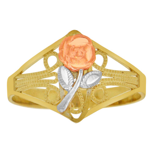 14k Tricolor Gold, Rose Flower Design Filigree Style Ring Sparkle Cut (R149-002)