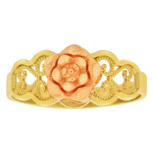 14k Yellow & Rose Gold, Rose Flower Design Filigree Style Ring Sparkle Cut (R149-003)